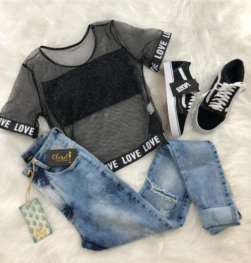 60a1b40b34e Sheer Cropped Top with Skinny Jeans Casual Teen Tumblr Outfit ...