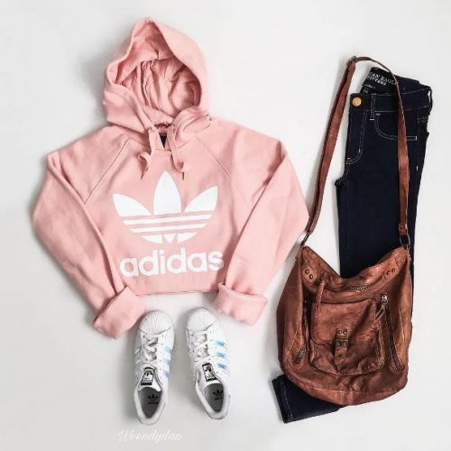 cropped hoodie casual teen outfit adidas teen outfit tumblr girl outfit pink hoodie outfit