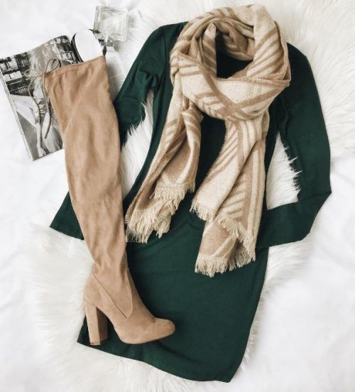 sweater dress with over the knee boots winter outfit 2 outfitspedia